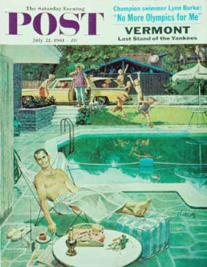 Saturday Evening Post - 1961-07-22: Unwelcome Pool Guests (Thornton Utz)