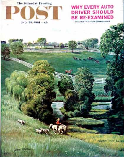 Saturday Evening Post - 1961-07-29: Green Kentucky Pastures (John Clymer)