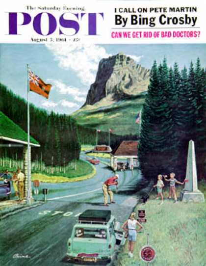 Saturday Evening Post - 1961-08-05: U.S./Canadian Border at Waterton-Glacier (Ben Kimberly Prins)