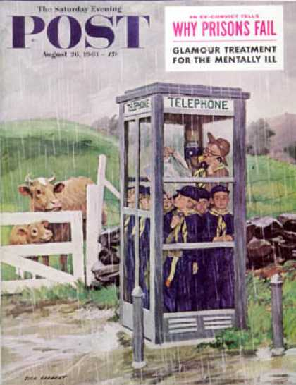 Saturday Evening Post - 1961-08-26: Cub Scouts in Phone Booth (Richard Sargent)