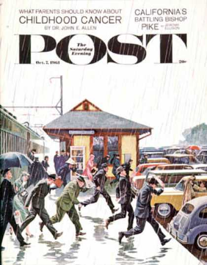 Saturday Evening Post - 1961-10-07: Commuters in the Rain (John Falter)