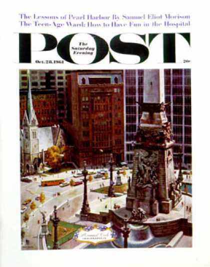 Saturday Evening Post - 1961-10-28: Monument Circle (John Falter)