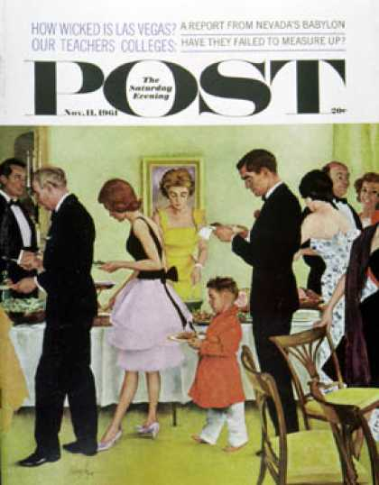 Saturday Evening Post - 1961-11-11: Hitting the Buffet (George Hughes)