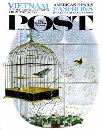 Saturday Evening Post - 1962-01-06: Birdtalk (Gyo Fujikawa)