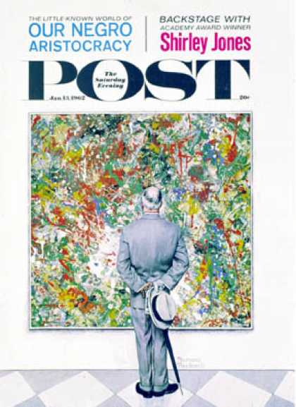 "Saturday Evening Post - 1962-01-13: ""Art Connoisseur"" or   ""Abstract and (Norman Rockwell)"