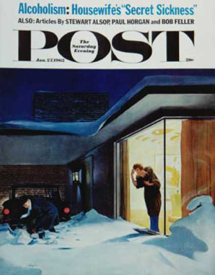 Saturday Evening Post - 1962-01-27: Late for Party Due to Snow (George Hughes)