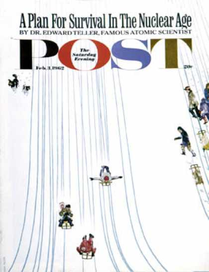 Saturday Evening Post - 1962-02-03: Sledding Designs in the Snow (John Falter)