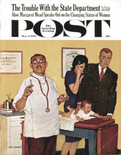 Saturday Evening Post - 1962-03-03: Baby's First Shot (Richard Sargent)