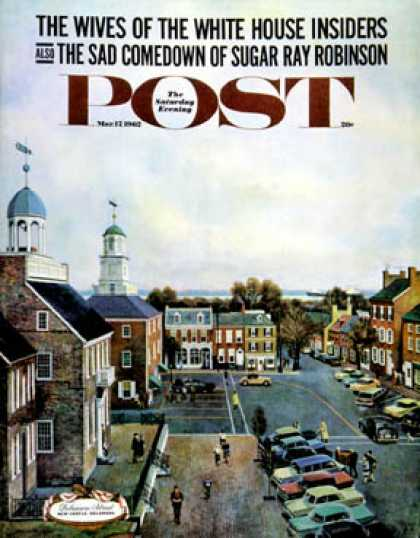 Saturday Evening Post - 1962-03-17: Town Square, New Castle Delaware (John Falter)
