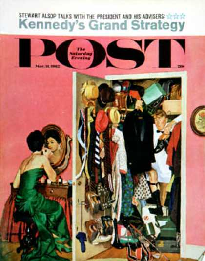 Saturday Evening Post - 1962-03-31: Hunting His Tux for the Party (Richard Sargent)