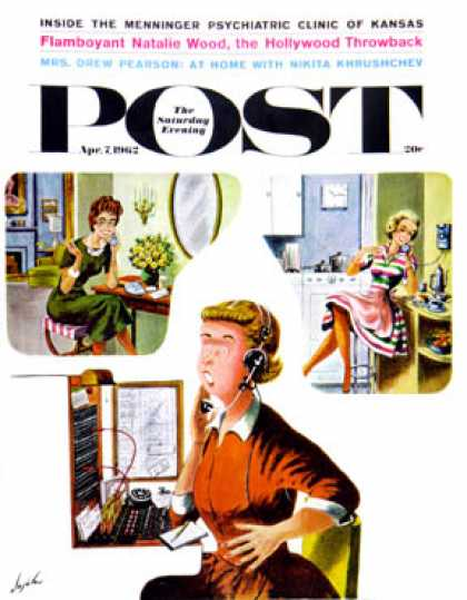 Saturday Evening Post - 1962-04-07: Eavesdropping Operator (Constantin Alajalov)