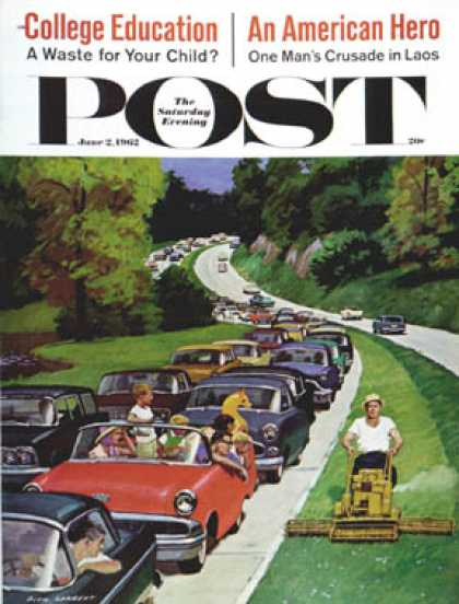 Saturday Evening Post - 1962-06-02: Speeder on the Median (Richard Sargent)