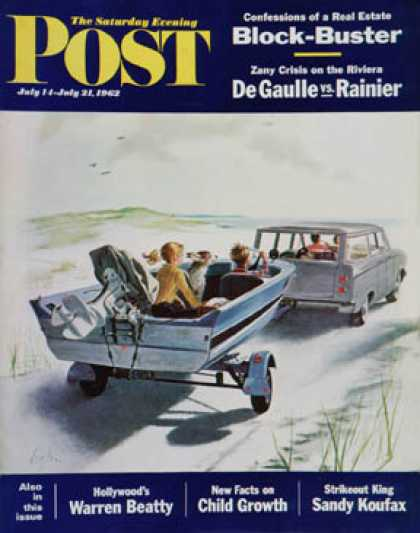 Saturday Evening Post - 1962-07-14: Highway Boatride (George Hughes)