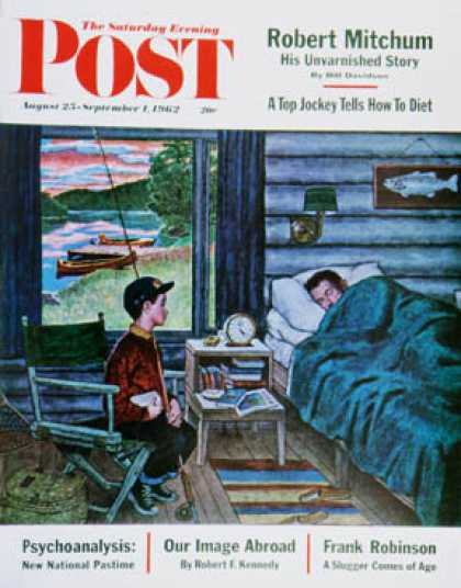 Saturday Evening Post - 1962-08-25: Dad, the Fish are Biting (Amos Sewell)