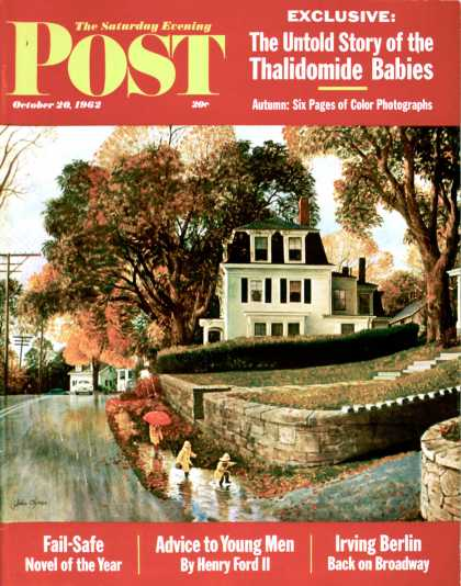 Saturday Evening Post - 1962-10-20: Walking Home in the Rain (John Clymer)