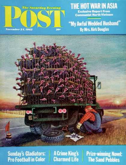 Saturday Evening Post - 1962-11-24: Turkey Truck Has Flat (Jan Balet)