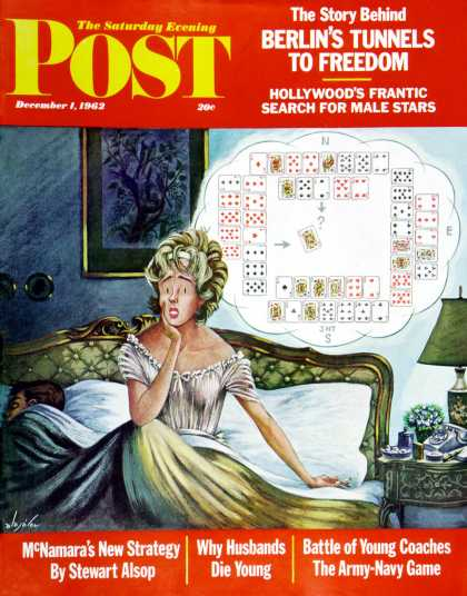 Saturday Evening Post - 1962-12-01: Bridge Hand Disturbs Sleep (Constantin Alajalov)