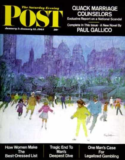 Saturday Evening Post - 1963-01-05: Ice Skating in Central Park (Frank Mullins)