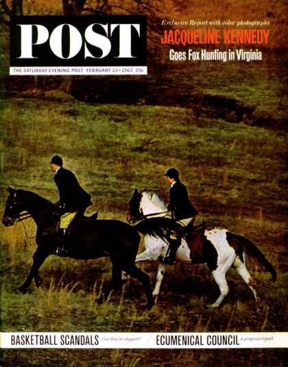 Saturday Evening Post - 1963-02-23: Jackie Foxhunting (Marshall Hawkins)