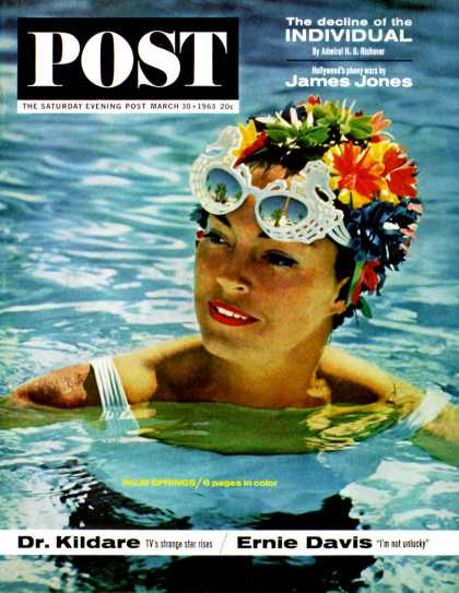 Saturday Evening Post - 1963-03-30: Flowered Bathing Cap (John Bryson)