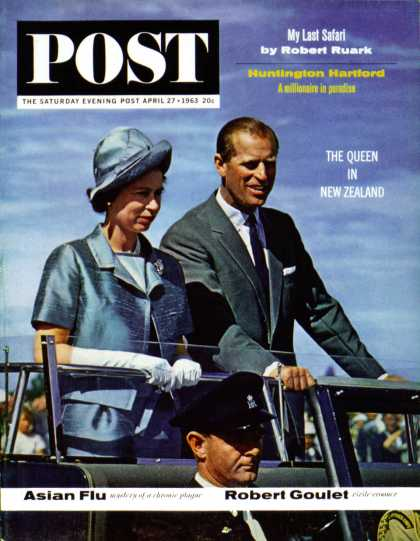 Saturday Evening Post - 1963-04-27: Queen Elizabeth & Prince Phillip (Ollie Atkins)
