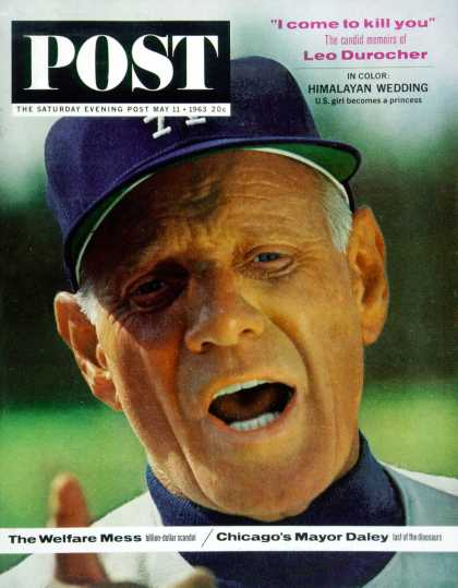 Saturday Evening Post - 1963-05-11: Leo Durocher (Lawrence J. Schiller)