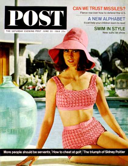 Saturday Evening Post - 1964-06-20: Pink Two-Piece Swimsuit (Lawrence J. Schiller)