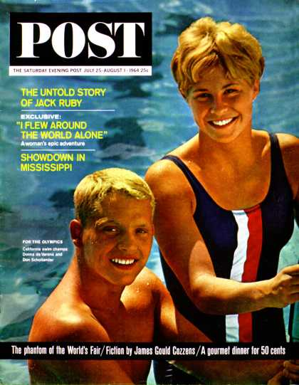 Saturday Evening Post - 1964-07-25: Olympic Swimmers (Jack Fields)
