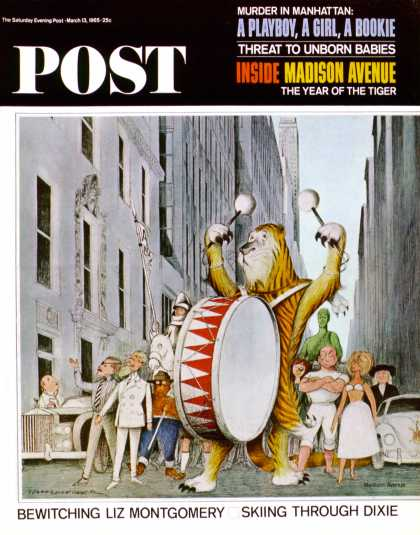 Saturday Evening Post - 1965-03-13: Advertising Characters on Parade (N.M. Bodecker)