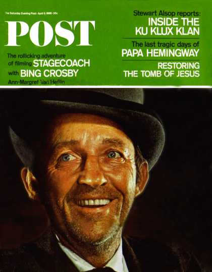 "Saturday Evening Post - 1966-04-09: Bing Crosby in ""Stagecoach"" (Philippe Halsman)"