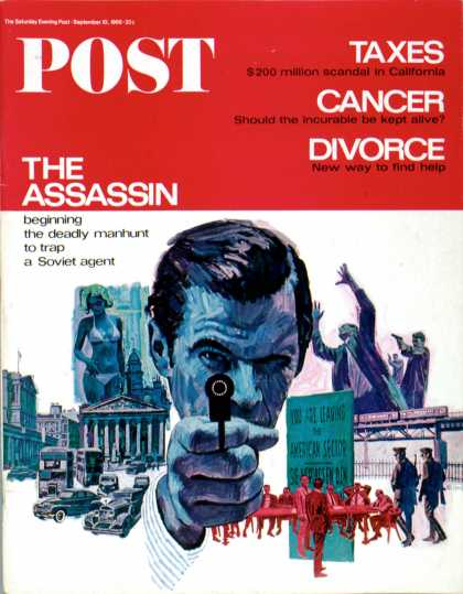 Saturday Evening Post - 1966-09-10: The Assassin (Mitchell Hooks)
