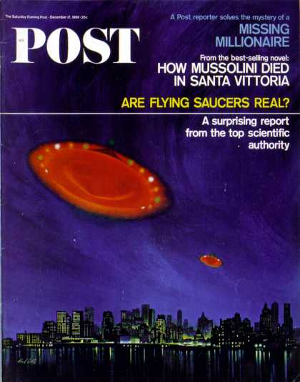 Saturday Evening Post - 1966-12-17: Are Flying Saucers Real? (Paul Calle)