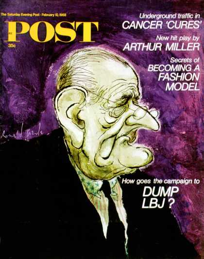 Saturday Evening Post - 1968-02-10: Caricature of LBJ (Ronald Searle)