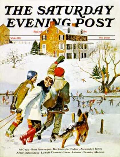 Saturday Evening Post - 1971-12-01: Ice-Skating in the Country (John Falter)