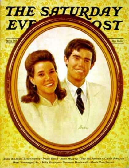 Saturday Evening Post - 1972-04-01: Julie & David Eisenhower (Bowler)