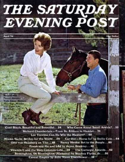 Saturday Evening Post - 1974-04-01: Nancy and Ronald Reagan (J. Engstead)