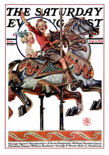 Saturday Evening Post - 1930-09-06: Carousel Ride (J.C. Leyendecker)