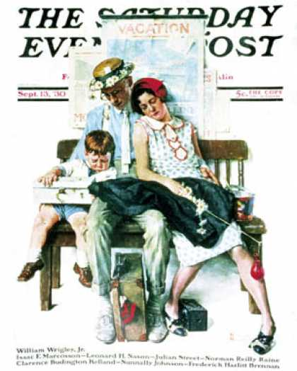 "Saturday Evening Post - 1930-09-13: ""Home from Vacation"" (Norman Rockwell)"