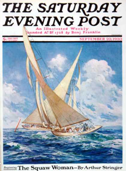 Saturday Evening Post - 1930-09-20: America's Cup Race (Anton Otto Fischer)