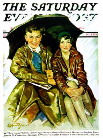 Saturday Evening Post - 1930-10-04: Couple in Rain (Ellen Pyle)