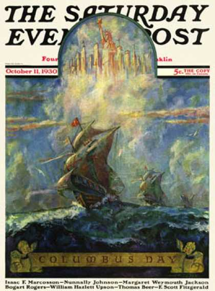 Saturday Evening Post - 1930-10-11: Columbus Day (H.W. Tilson)