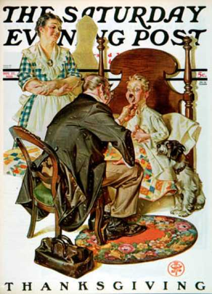 Saturday Evening Post - 1930-11-22: Sore Throat (J.C. Leyendecker)