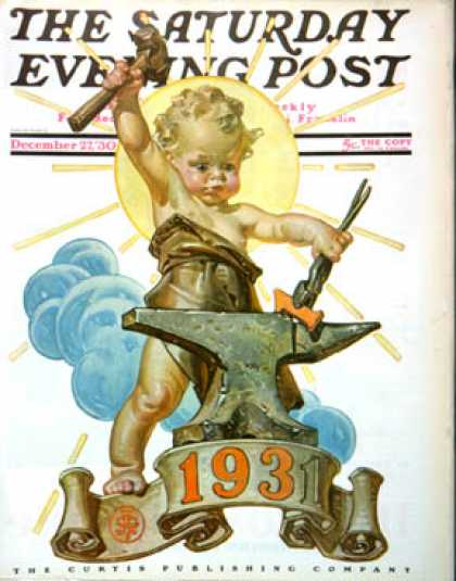 Saturday Evening Post - 1930-12-27: Forging a New Year (J.C. Leyendecker)