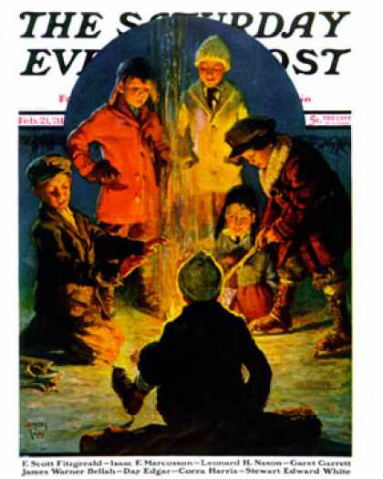 Saturday Evening Post - 1931-02-21: Skaters' Bonfire (Eugene Iverd)