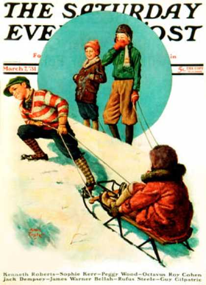 Saturday Evening Post - 1931-03-07: Uphill Sledding (Alan Foster)