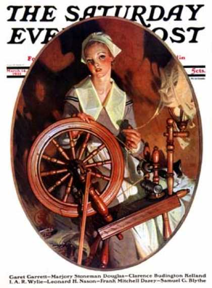 Saturday Evening Post - 1931-03-14: Spinning Wheel (J.C. Leyendecker)