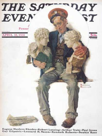 "Saturday Evening Post - 1931-04-18: ""Delivering Two Busts"" (Norman Rockwell)"