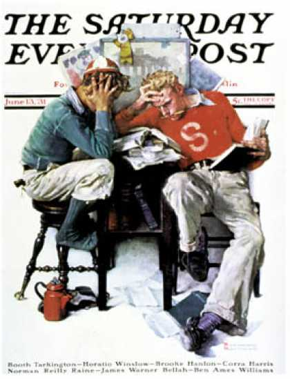 "Saturday Evening Post - 1931-06-13: ""Cramming"" (Norman Rockwell)"