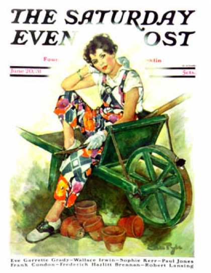 Saturday Evening Post - 1931-06-20: Woman in Wheelbarrow (Ellen Pyle)