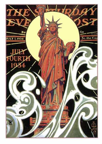 Saturday Evening Post - 1934-07-07: Statue of Liberty (J.C. Leyendecker)